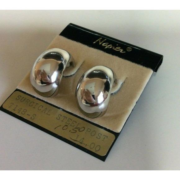 Napier Silver Tone Semi-Circle Clip On Earrings